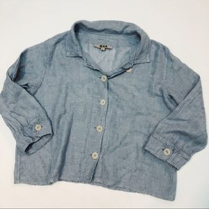 Vtg FLAX Blue Linen Button Down Top